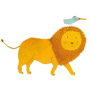 Lion and bird
