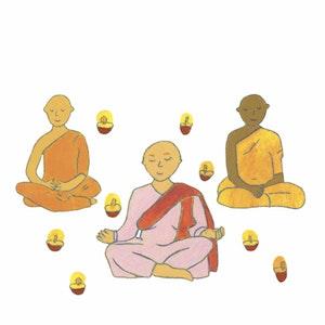 "Buddhistic munks and nun from ""So feiert die Welt!"" (Circon Verlag)"