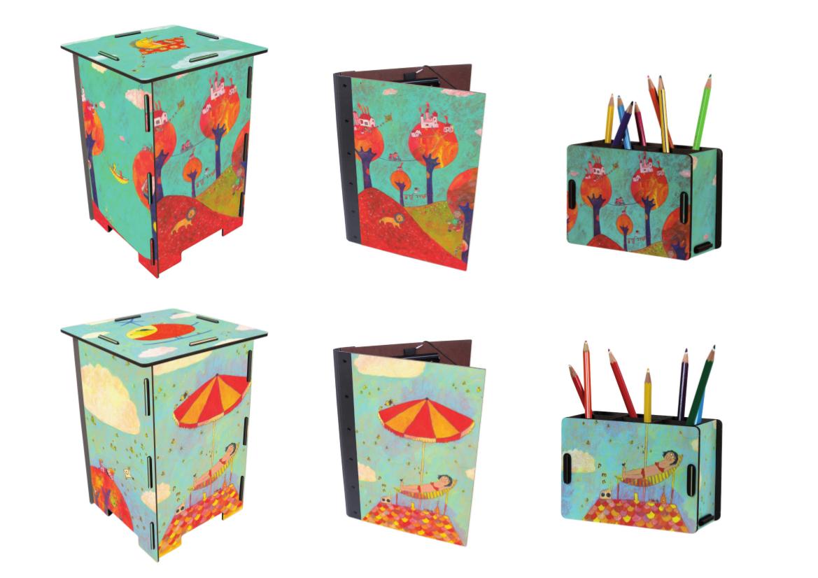 Motives for stools, folders & pencil boxes